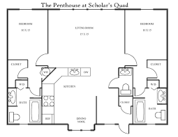 Penthouse Apartment Floor Plans Scholar U0027s Quad 2 Bedroom Penthouse Apartment Bloomington Indiana