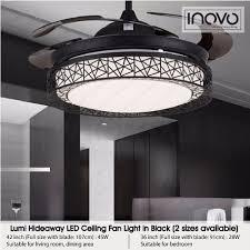inovo lumi hideaway ceiling fan light led for living room