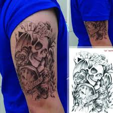 subaru tattoo aliexpress com buy cool old clock death skull punk rose fake