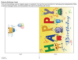 colorful robot printable birthday cards for pictures rousing