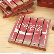 coca cola wood crate vintage style pallet coaster set home decor