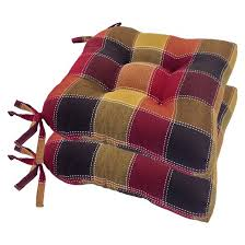 harris plaid woven plaid chair pads with tiebacks set of 4 target