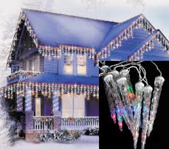 set of 6 led multi color dripping icicle shape christmas lights