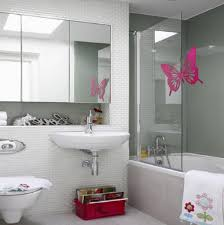 bathroom cute kids bathroom decorating ideas with white porcelain cute kids bathroom decorating ideas with white porcelain floating sink under large frameless mirrors attached on white glass tiles mosaic wall decor