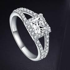 asscher cut diamond engagement rings 925 silver sterling split shank asscher cut engagement diamond