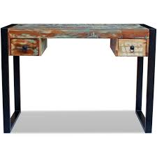 Timber Office Desk Vidaxl Recycled Timber Office Desk Side Console Table Drawer Steel