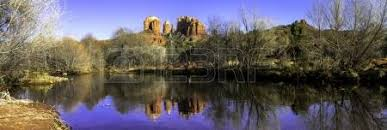 Cathedral Rock Reflections At Sunset Red Rock Crossing Evening Sunset At Cathedral Rock At Red Rocks Crossing On Oak