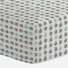 gray and mint elephant parade crib sheet carousel designs