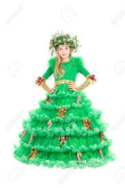 christmas tree costume beautiful dressed in christmas tree costume isolated