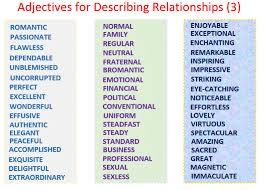 vocabulary for describing relationships adjectives comprehensive