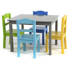 the tot tutors elements wood table and 4 colored chairs set is the
