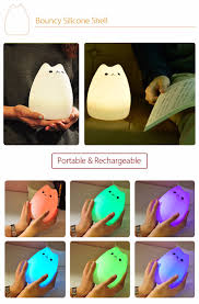 usb cat night light color changing silicone cat night light usb rechargeable multicolor