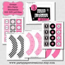 Personalized Party Decorations Party Printables Grease Fifties Birthday Party Printable Decor