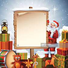 santa claus with christmas sign vector art getty images