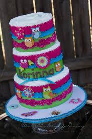 owl diaper cake owl baby shower cake pink owls 3 tier