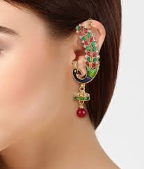 ear cuffs india shining peacock ear cuff earrings buy shining peacock
