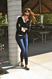 black sweater with white collar black sweater white collar shirt and flats everyday