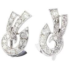 diamond earrings for sale deco white gold cut diamond earrings for sale at 1stdibs