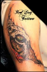 3d colored ripped skin with tiger eye on shoulder