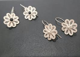custom silver jewelry small flower filigree earrings seba dizajn