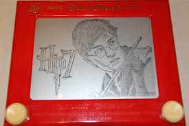 happy hp7 pt2 day a drawing i made of harry potter on etch