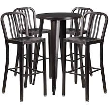 B Q Bistro Table And Chairs Coaster Adjustable Pub Table In Walnut And Chrome