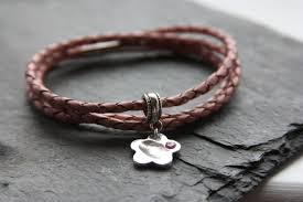 leather bracelet with charm images Slim leather bracelet with hand footprint or pawprint charm jpg