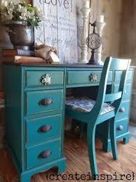 red refinished furniture glaze desks and barn