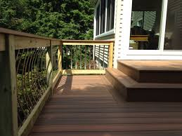 Patio Handrails by Composite Decking With Pressure Treated Railings Composite Deck