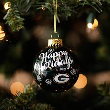 green bay packers 2017 dated glass ornament at the packers