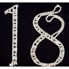 rhinestone cake toppers 18th birthday and aniversary cake topper in silver with rhinestone