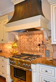 133 best backsplash images on pinterest backsplash ideas bathroom kitchen decor with copper range hood with wooden kitchen cabinet and granite countertops and