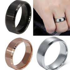 black steel rings images 8 mm stainless steel unisex wedding band silver black gold rose jpg