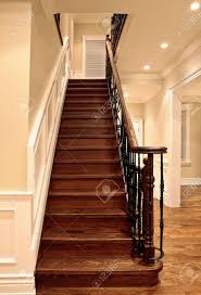 oak stairs in luxury house stock photo picture and
