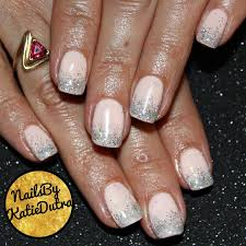 pink gel nails with a silver glitter fade nails by katie