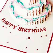 3 tier birthday cake 3d pop up greeting handmade kirigami cards