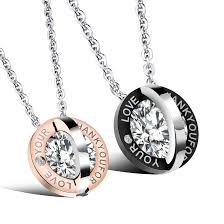 couples necklace wholesale new fashion stainless steel couples necklace for