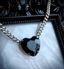 green heart pendant necklace images Black heart necklace gothic wedding black crystal heart jpg