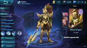 mobile legends alpha fierce dragon mobile legends