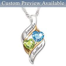 custom necklaces for couples loving embrace personalized couples heart shaped birthstone