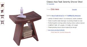 teak shower bench stool with shelf