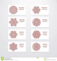 mehndi card set of business card templates mehndi design stock vector