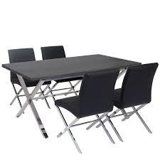 Dunkler Esszimmertisch Esszimmergarnitur Fano Tisch 4 Stühle 3d Struktur Kunstleder