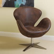 amazon com brown aged microfiber swan design chair w