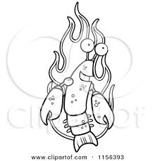 coloring pages of flames cartoon clipart of a black and white lobster over flames