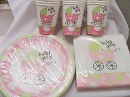 baby shower supplies online set of soft pink and green baby shower paper plates cups and