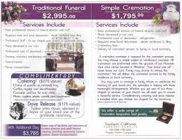 socal cremations funeral pricing