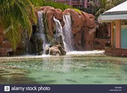waterfall in lagoon atlantis hotel paradise island bahamas