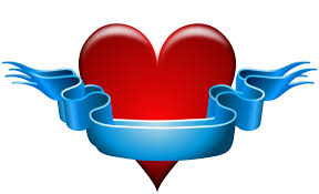 heart ribbon heart ribbon blue banner png image picpng
