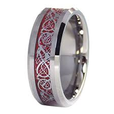 celtic knot wedding bands tungsten 8mm silver tone viking celtic knot ring carbon